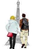 Boyfriends under the Eiffel Tower Stock Photos