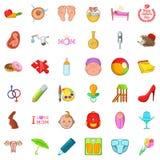 Boyhood icons set, cartoon style. Boyhood icons set. Cartoon set of 36 boyhood vector icons for web isolated on white background Royalty Free Stock Images