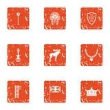 Boyhood icons set, grunge style. Boyhood icons set. Grunge set of 9 boyhood vector icons for web isolated on white background Royalty Free Stock Photo