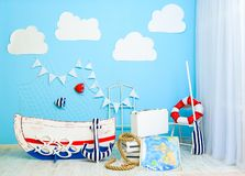 Boyish marine cute room decorated as a sea ship royalty free stock images