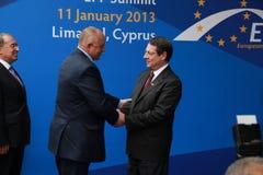 Boyko Borissov en Nicos Anastasiades Stock Foto