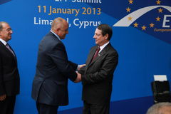 Boyko Borissov and Nicos Anastasiades. Prime Minister of Bulgaria Boyko Borissov and Nicos Anastasiades, Candidate for President of Cyprus in Presidential stock photo