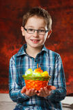Boyl with a basket full of easter eggs Royalty Free Stock Images