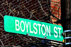 Boylston-Straße in Boston-Standort von Bombardierungen lizenzfreie stockfotos