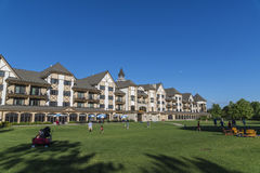 Boyne falls resort. Ground around boyne mountain resort with bluse sky and moon Royalty Free Stock Image