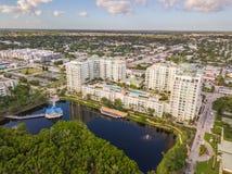 Boynton Beach FL aerial image. Drone real estate photography condominium lakefront architecture boynton beach florida Royalty Free Stock Image