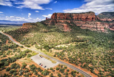 Boynton Pass road in Sedona, Arizona, USA. Overview of Boynton Road area in Sedona and Red Rock formation on the background. Sedona is an Arizona desert town stock image