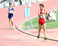 Boys on the 10,000 meters race walk Stock Images