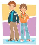 Boys. Illustration of a group of two teen boys Royalty Free Stock Images