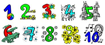 Beautiful hand painted colorful numbers for kids with happy pictures and friendly animals to learn the numbers and for birthday. Beautiful hand painted colorful royalty free illustration