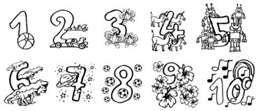 Hand painted coloring book numbers for kids with happy pictures and friendly animals to learn the numbers and for birthday stock illustration