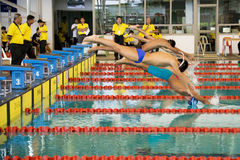 Boys 200 Meters Breaststroke Swimming Action. Image of boys (13-14 years old) competing in the 200 meters breaststroke event at the 33rd South-East Asia Age Royalty Free Stock Image