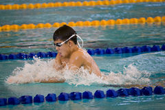 Boys 200 Meters Breaststroke Swimming Action. Image of Joshua Ling of Singapore competing in the boys (13-14 years old) 200 meters breaststroke event at the 33rd Royalty Free Stock Photography