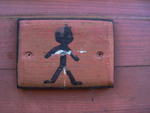 Boys'. Wooden sign at the door of a boys' toilet Royalty Free Stock Images