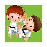 The boys. Taekwondo competition between two boys Vector Illustration