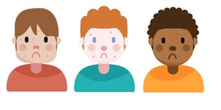 Boys with acne, illustration stock illustration