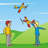 Boys and aircraft Stock Photography