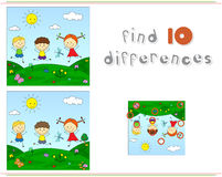 Boys And Girl On A Flower Meadow. Educational Game For Kids: Fin Royalty Free Stock Images
