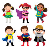 Boys And Girls In Superhero Costumes On White Background Royalty Free Stock Images