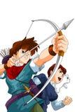 Boys anime archers character cartoon style  illustration Stock Photography