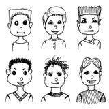 Boys avatars set. hand drawn doodles Stock Photos