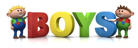 Boys with B-O-Y-S letters Royalty Free Stock Photos