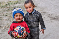 Boys with ball in Tajikistan Stock Photo