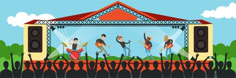 Boys band singing song on the stage performing live in front of big concert audience outdoor, open air performance at. Summer day horizontal vector Illustration Stock Photos