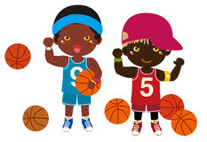 Boys and basketball. Vector illustration of  boys and basketball Royalty Free Stock Photography