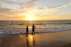 Boys Beach Sunset Stock Photo