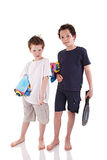 Boys with the beach towel Stock Photo