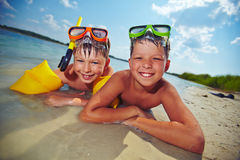 Boys on the beach Stock Photo