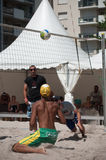 Boys at the beach volley in the city during the summer vacation Royalty Free Stock Photography