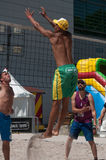 Boys at the beach volley in the city during the summer vacation Royalty Free Stock Photo