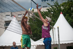 Boys at the beach volley in the city during the summer vacation. Mulhouse - France - 8 July 2017 - boys at the beach volley in the city during the summer Stock Images