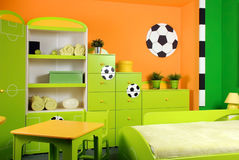 Boys Bedroom. Boys bedroom - a fan of football Stock Photo