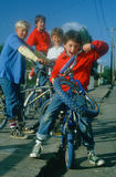 Boys on bicycles. Ferndale, California Royalty Free Stock Photo