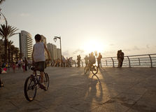 Boys on bicycles, Beirut. Boys on bicycles on the waterfront, Beirut Stock Photography