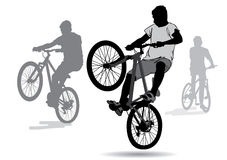 Boys on bicycles. The boys went for a walk on the bike. Teenagers doing tricks on bikes. Silhouette on a white background Royalty Free Stock Photo