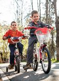 Boys with bike Stock Photography