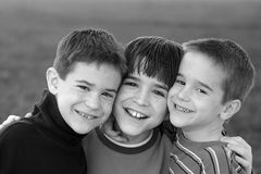 Boys in Black and White Royalty Free Stock Photos