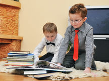 Boys with books Stock Photo