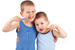 Boys brushing his teeth Royalty Free Stock Images