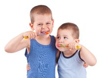 Boys brushing his teeth Stock Image