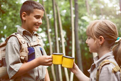 Boys on camping trip in the forest exploring Royalty Free Stock Photography