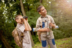Boys on camping trip in the forest exploring Royalty Free Stock Photos