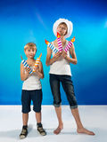 Boys with a candles Royalty Free Stock Photos