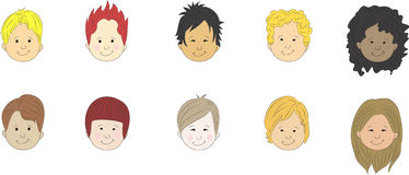 Boys cartoon faces Stock Photography
