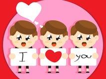 Boys cartoon  for valentines day Royalty Free Stock Photo