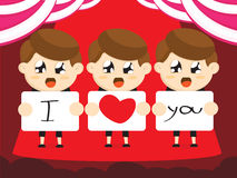 Boys cartoon  for valentines day Royalty Free Stock Photography